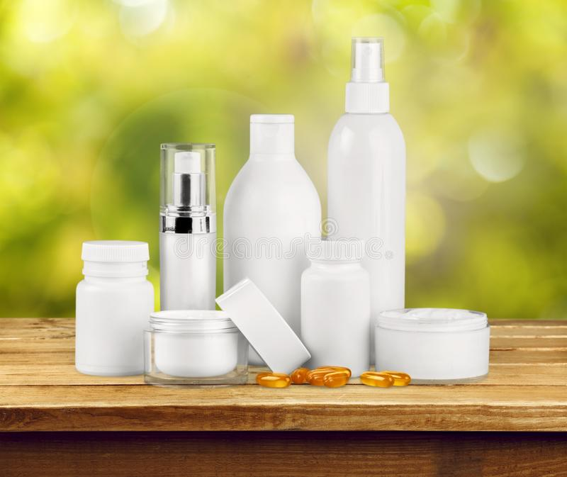 Cosmetics. Moisturizer Beauty Bottle Packaging Beauty Treatment Jar royalty free stock image