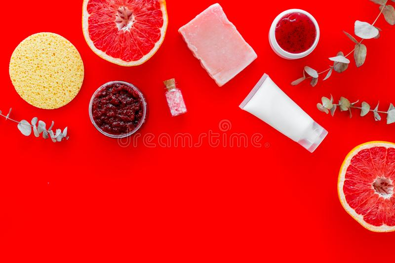 Cosmetics with natural herbal and citrus ingredients on red background top view copyspace stock photos