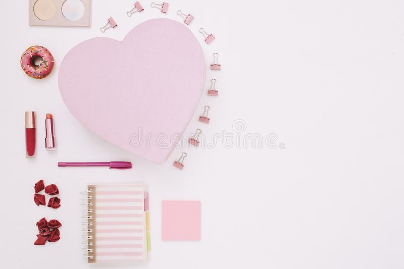 Cosmetics and office supplies for girls stock images