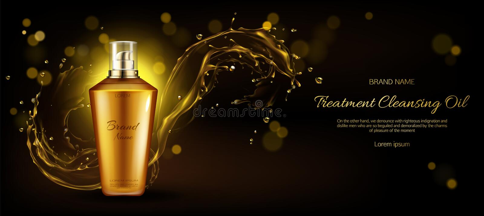 Cosmetics oil cleansing treatment bottle mockup. Cosmetics oil for cleansing treatment bottle mockup on dark background with gold liquid droplets splash. Beauty stock illustration