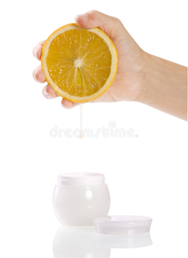 Cosmetics orange cream royalty free stock image
