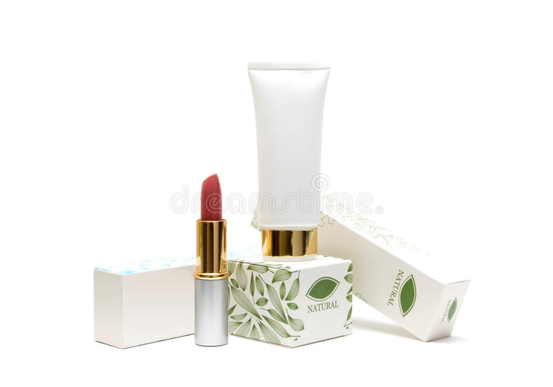 Cosmetics Packaging Isolated On White Background Stock Images