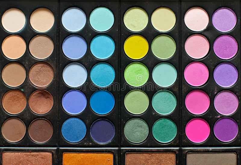 Cosmetics palette. Makeup brushes and cosmetics palette royalty free stock photography