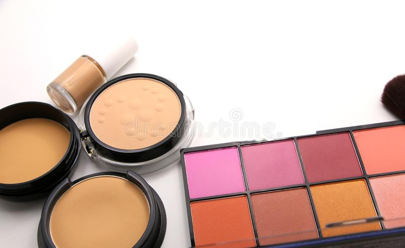 Cosmetics powder facial blush set on isolated white background. Copyspace for text stock image