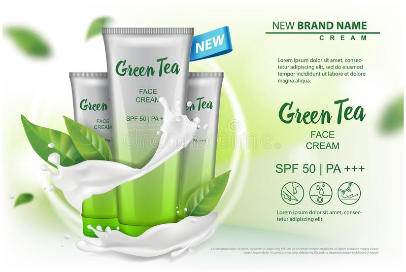 Cosmetics product with green tea extract advertising for catalog, magazine. Vector Mock up of cosmetic package. cream. Gel, body lotion for your design royalty free illustration