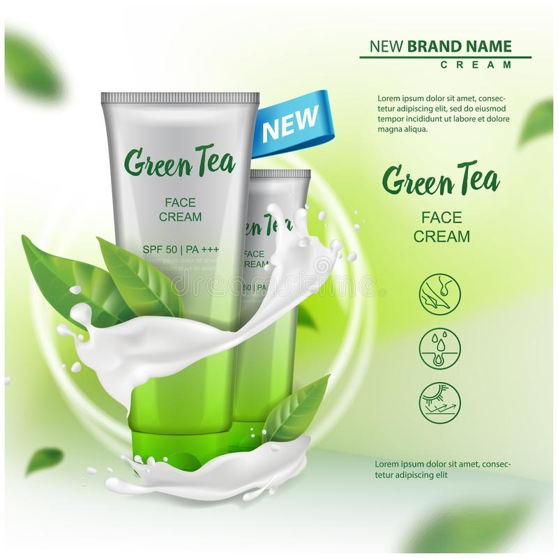Cosmetics product mock up with green tea extract advertising for catalog, magazine. Vector design of cosmetic package. Cream, gel, body lotion for your design stock illustration