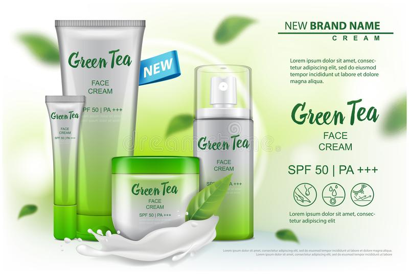 Cosmetics product mock up with green tea extract advertising for catalog, magazine. Vector design of cosmetic package. Cream, gel, body lotion, spray for your royalty free illustration