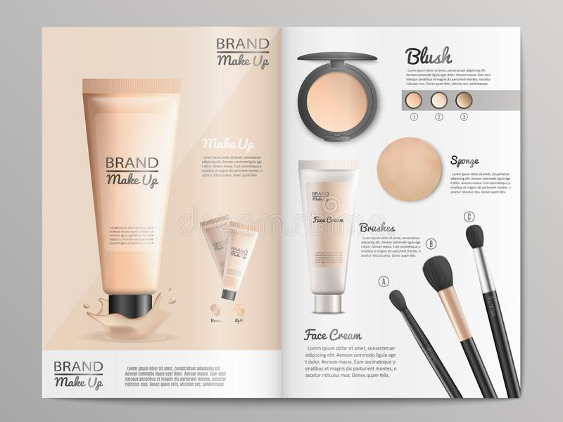 Cosmetics Products Catalog or Brochure Template. Cosmetics Products and Make Up Tools Promotion Catalog Template with Branded Face Cream, Blush and Brushes vector illustration