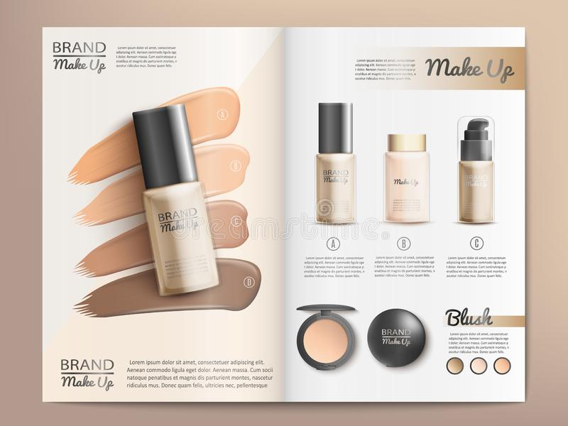 Cosmetics Products Catalog or Brochure Template. Cosmetics Products and Make Up Tools Promotion Catalog Template with Branded Nail Polish, Blush in Various stock illustration