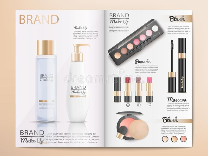 Cosmetics Products Catalog or Brochure Template. Cosmetics Products, Make Up Accessories Catalog Template with Branded Shampoo, Lotion, Skin Care Cream, Blush royalty free illustration