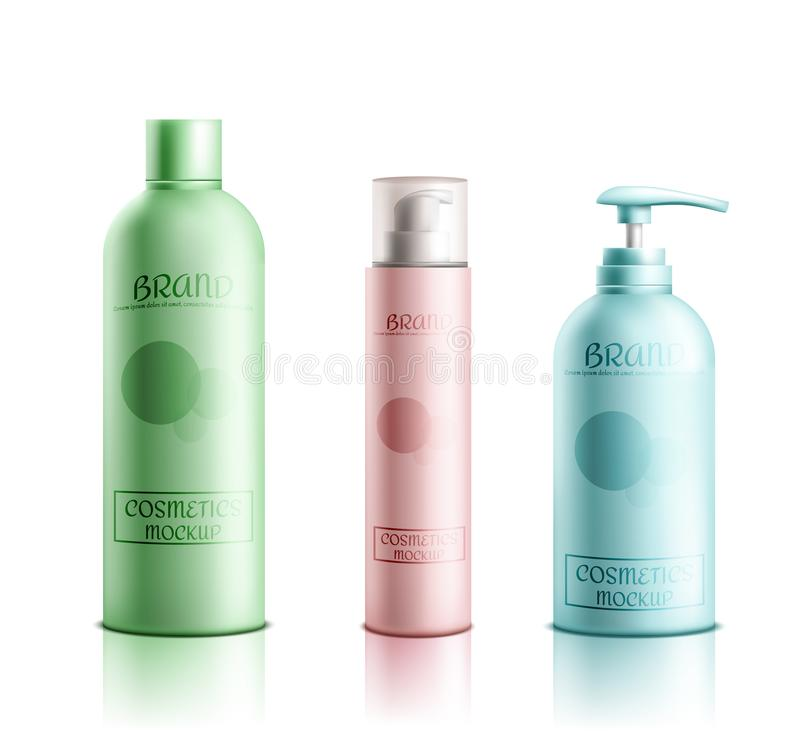 Cosmetics products packaging realistic vector set. Skincare cosmetics products line packaging mockup 3d realistic vector isolated on white background. Color stock illustration