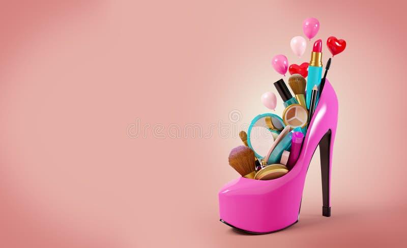 Cosmetics set. Into a woman's shoe. Fashion illustration
