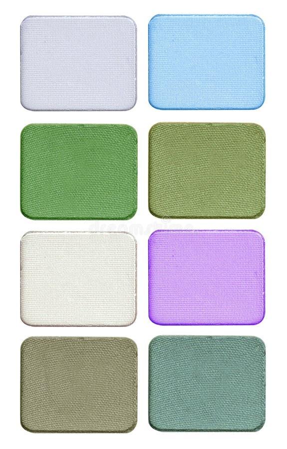 Cosmetics set of colorful eye shadow isolated on white background. stock photo