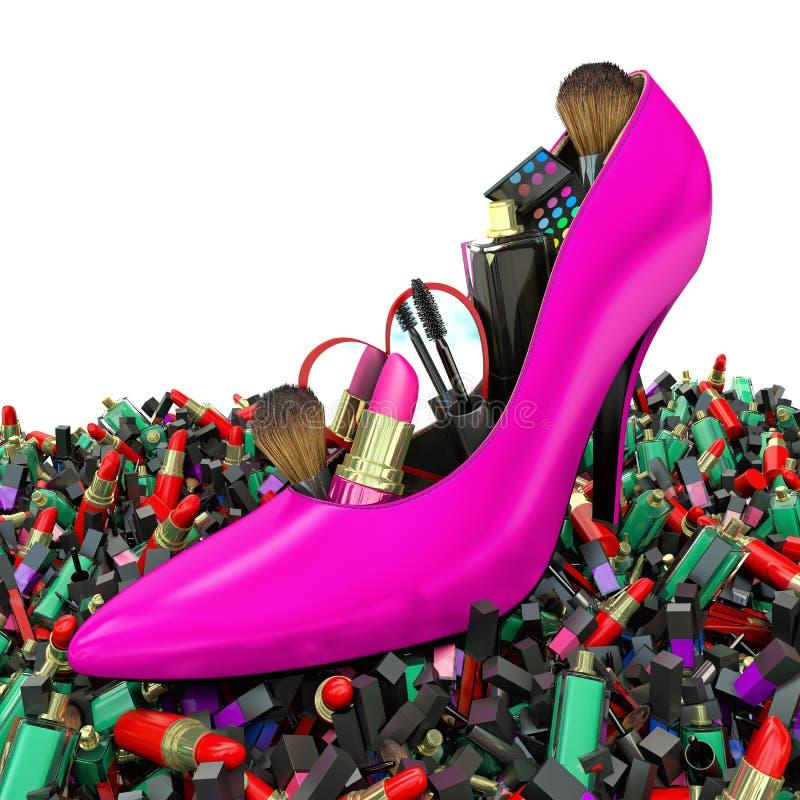 Free Cosmetics Set Into A Woman S Shoe. Fashion Royalty Free Stock Photography - 53827647