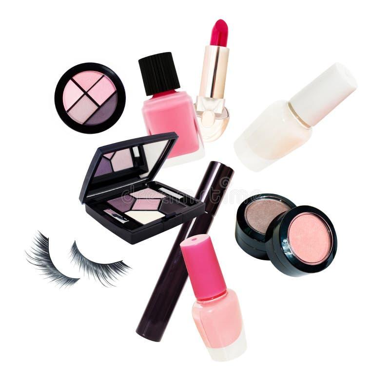 Cosmetics set isolated on white background stock photo