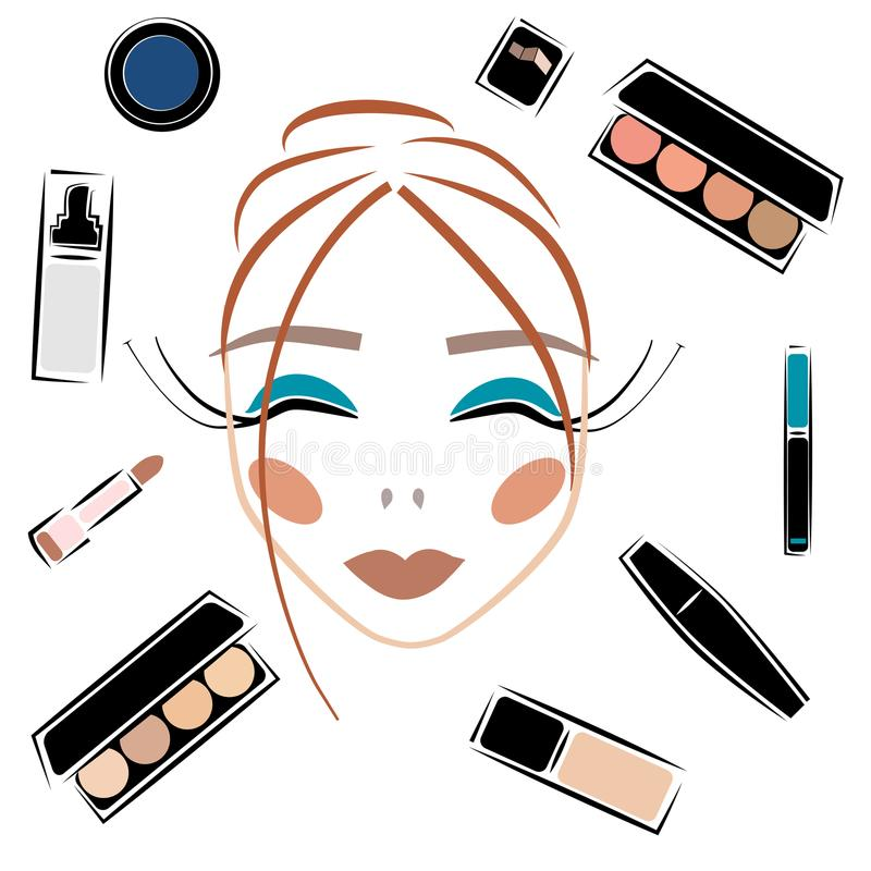Cosmetics Sketch Vector Set Makeup Woman Face Stock Vector