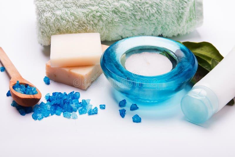 Cosmetics spa. Blue colored spa cosmetics still life royalty free stock image
