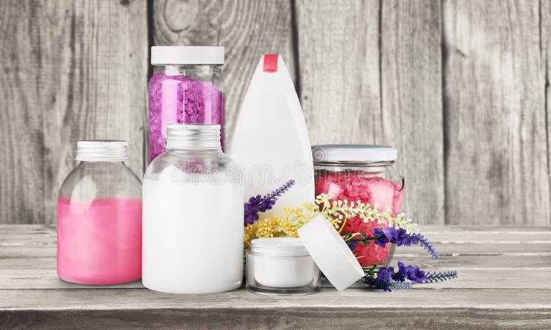 Cosmetics. Spa treatment moisturizer lavender bottle bath salt nature royalty free stock photos