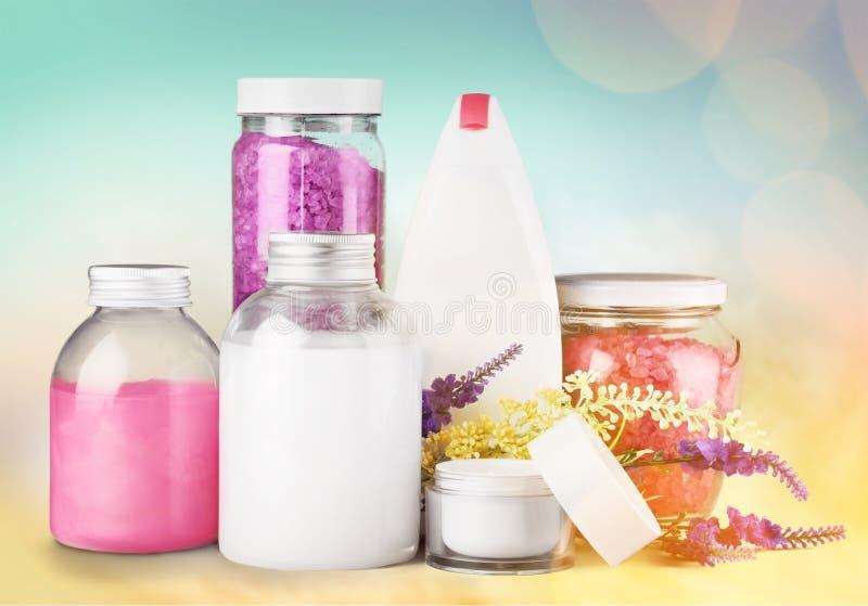 Cosmetics. Spa treatment moisturizer lavender bottle bath salt nature royalty free stock images