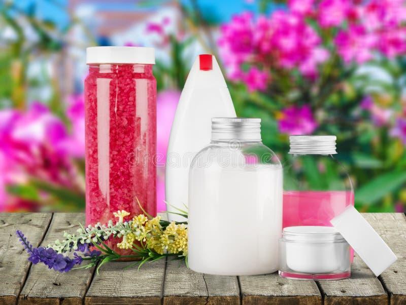 Cosmetics. Spa treatment moisturizer lavender bottle bath salt nature royalty free stock photography