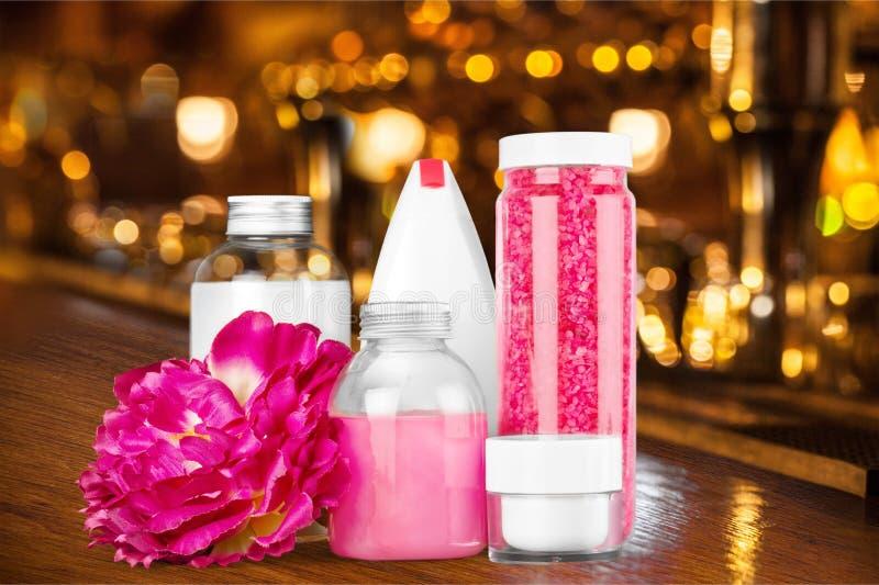 Cosmetics. Spa treatment moisturizer lavender bottle bath salt nature royalty free stock photo