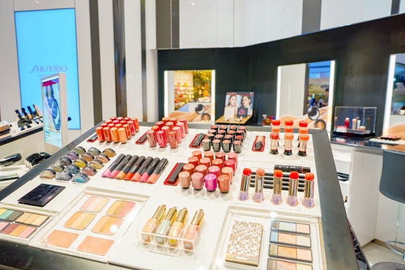 Cosmetics store in Hong Kong. HONG KONG - CIRCA NOVEMBER, 2016: cosmetics for sale in Hong Kong. Hong Kong's cosmetics market is highly competitive and having no royalty free stock images