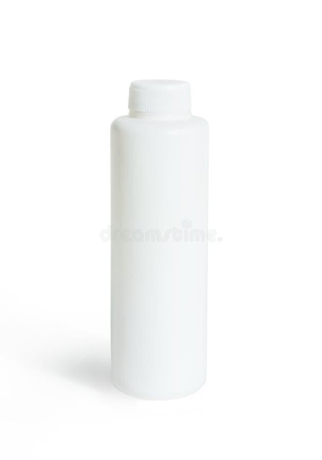 Cosmetics white plastic bottle isolated over white background royalty free stock image