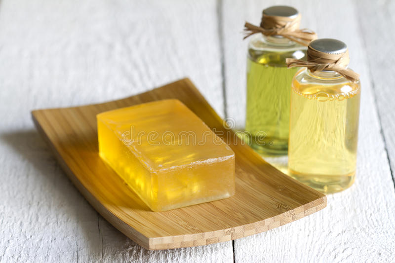 Cosmetisc for body care and hygiene on white planks stock photo