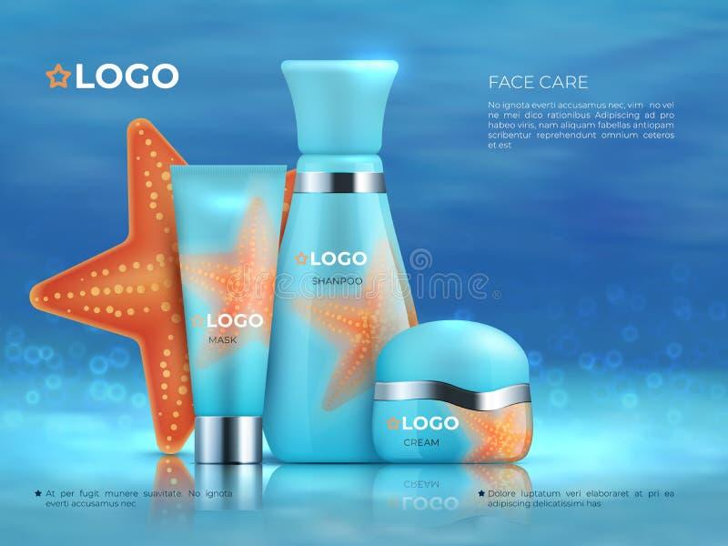Cosmetische productachtergrond Fles van de de bevorderingsroom van het schoonheidsverzorgingcosmetischee product skincare 3D Real royalty-vrije illustratie