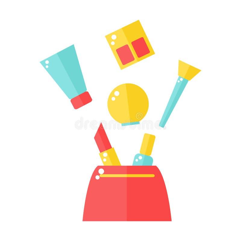 Cosmetischee producten in zak vector illustratie