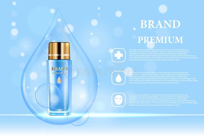 Cosmetischee productenadvertentie Vector 3d illustratie Het ontwerp van het de flessenmalplaatje van de huidzorg Het gezicht en h royalty-vrije illustratie