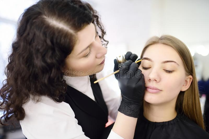 Cosmetologist painting eyebrows by brush. Attractive woman getting facial care and makeup at beauty salon. Architecture eyebrows. Cosmetologist painting eyebrows stock photos
