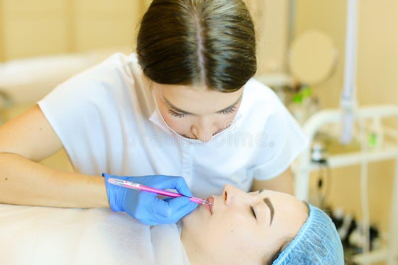 Cosmetologist qualifié formant des lèvres avec le crayon pour la jeune fille avant de microblading photographie stock