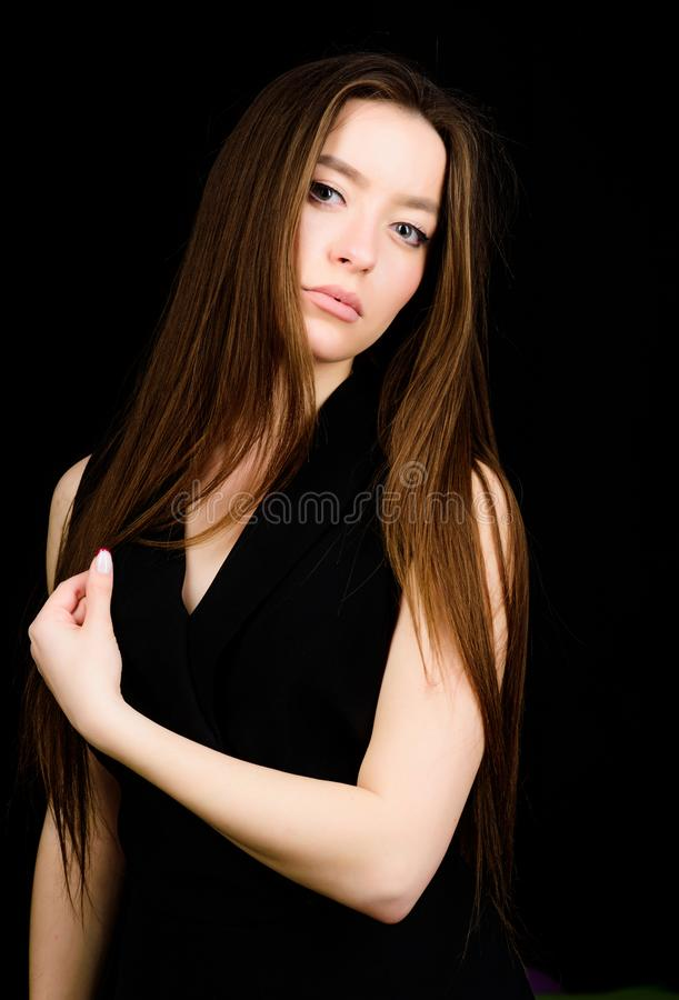 Cosmetology and beauty. Portrait of attractive woman long hair. Natural beauty. Incredible beauty confident girl. Pretty stock images