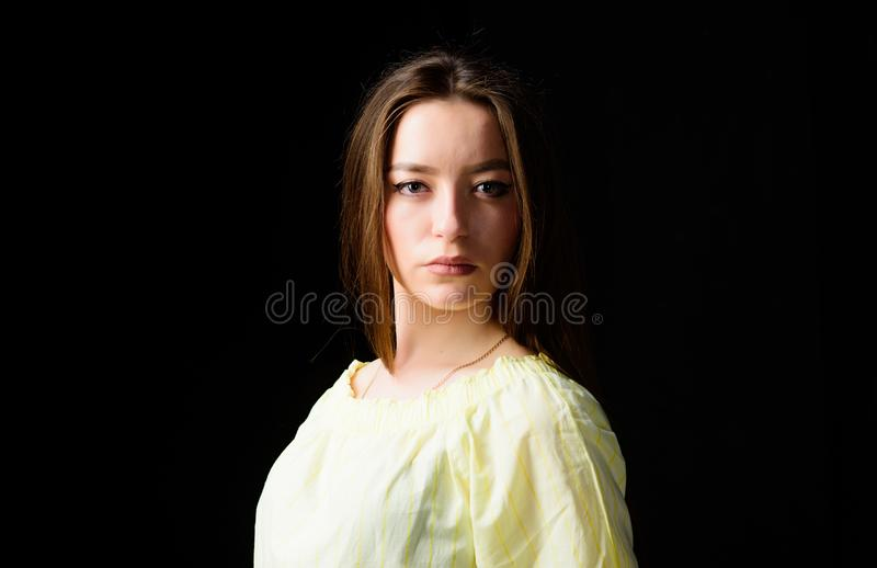 Cosmetology and beauty. Daily simple makeup. Portrait of attractive woman long hair. Natural beauty. Glowing with. Natural beauty. Pretty girl skincare and royalty free stock photo