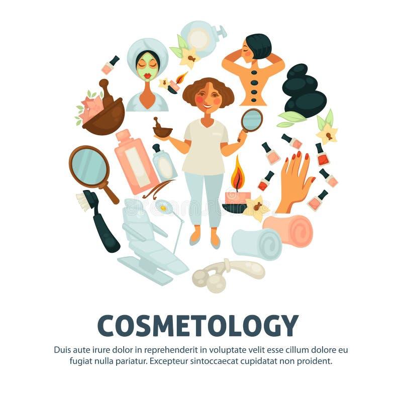 Cosmetology och affisch för vektor för kvinnaskönhetsalong stock illustrationer
