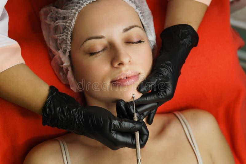 cosmetology Pulizia del fronte fotografia stock