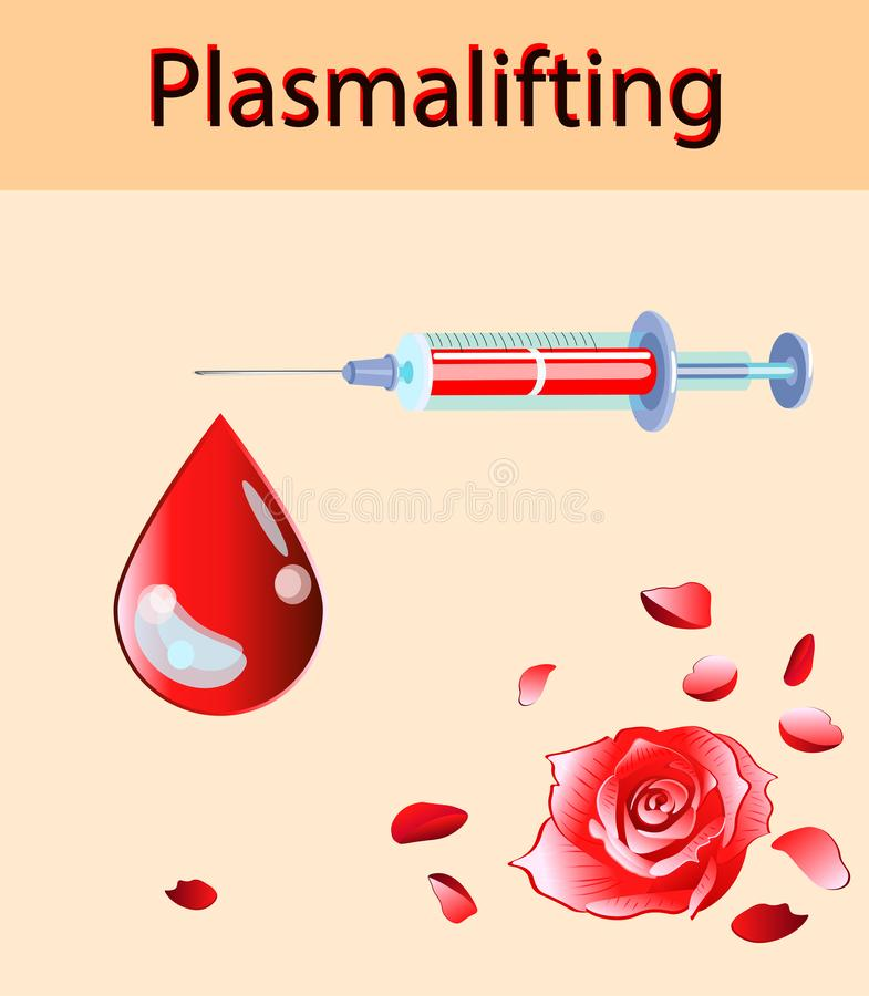 Cosmetology vector illustration. Beautiful rose and blood drop, plasma lifting injection and injector vector illustration