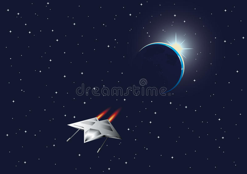 Cosmic background with the Earth and space fighter.  vector illustration