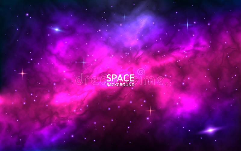 Cosmic background. Space backdrop with bright stars, stardust and nebula. Realistic cosmos with colorful galaxy. Color stock illustration