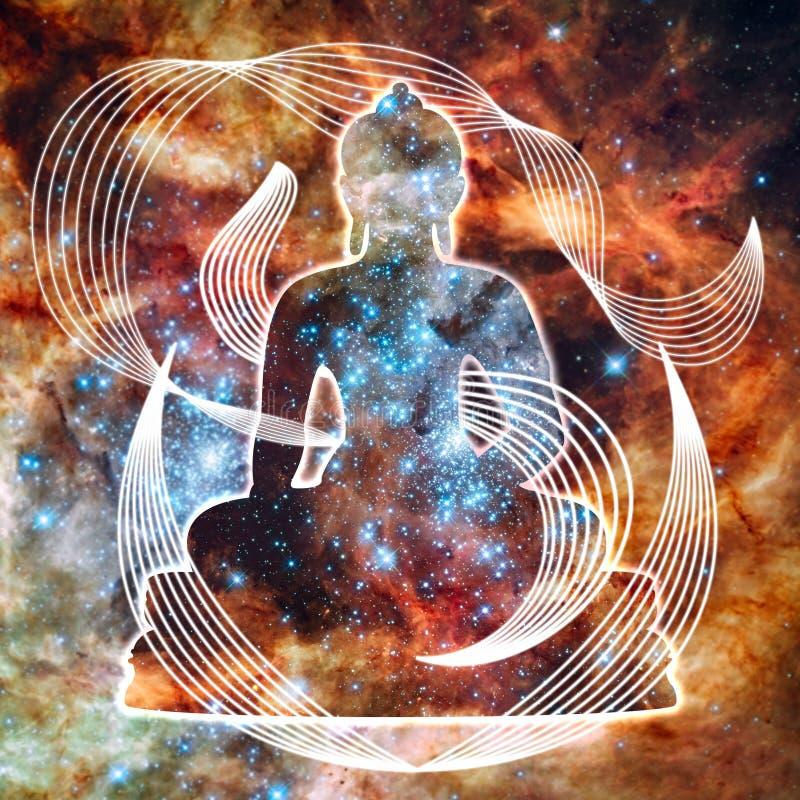Cosmic Buddha. Beautiful abstract buddha on starry cosmic background stock illustration