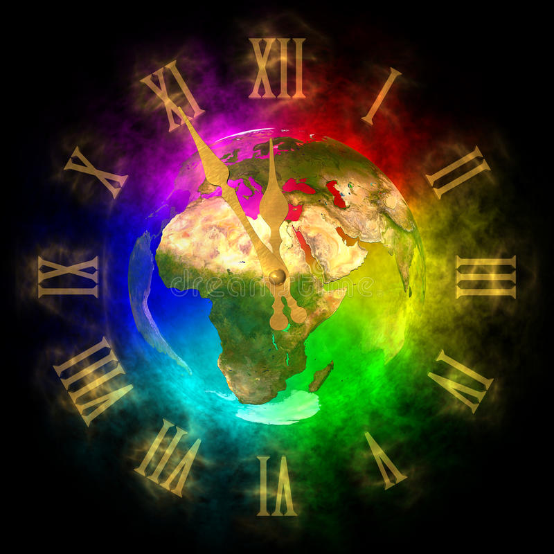 Cosmic clock - optimistic future on Earth - Europe. Illustration of cosmic clock. Theme of future on Earth. It is five to twelve on clock but the future is stock illustration