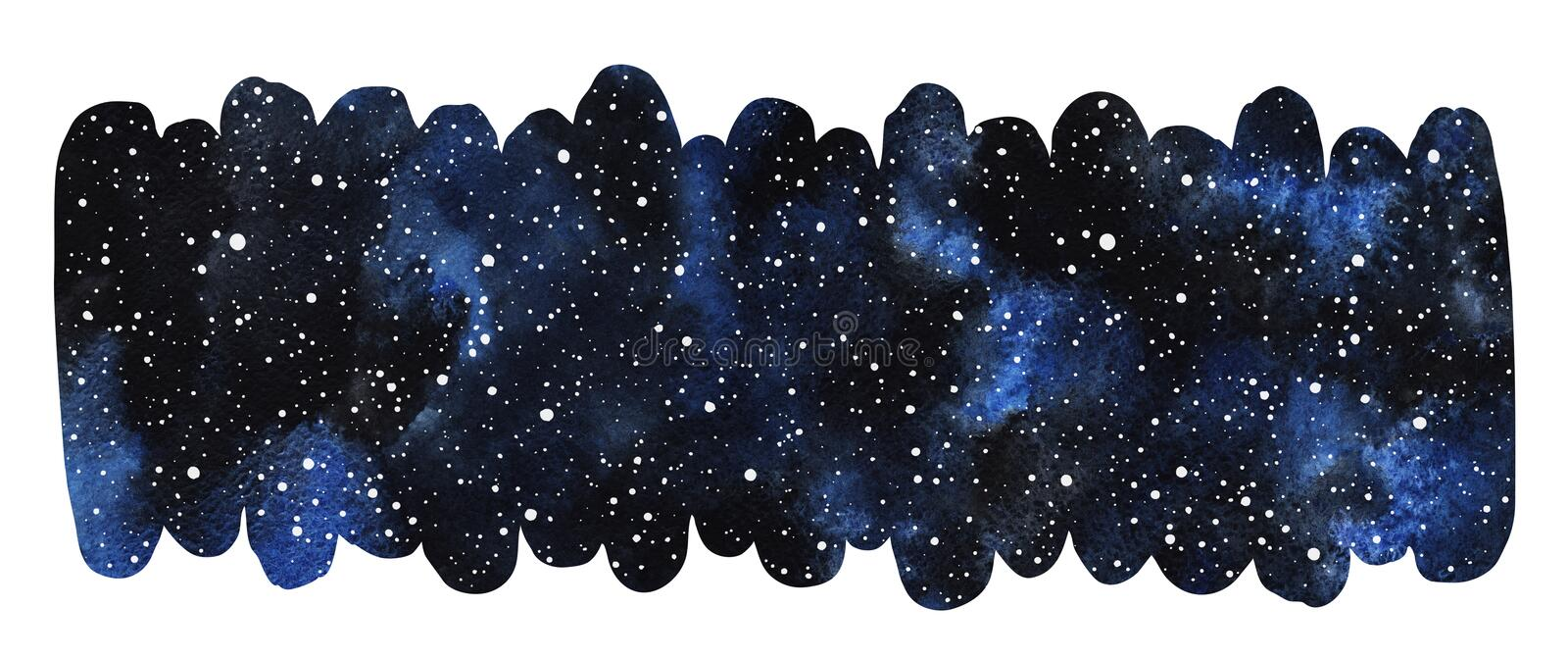 Cosmic, cosmos, space elongated watercolor background royalty free illustration