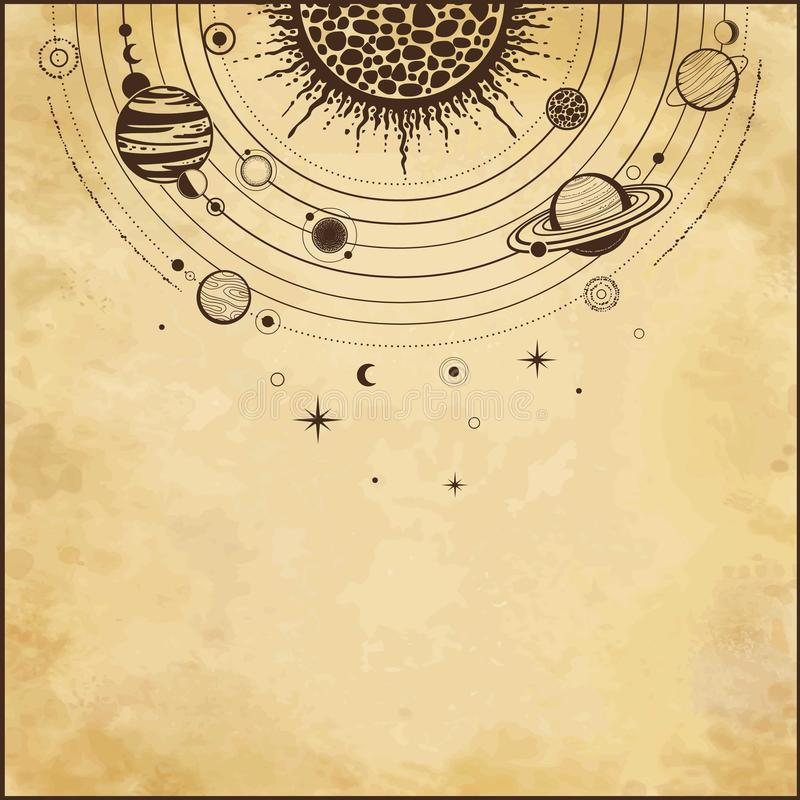 Cosmic drawing: stylized Solar system, orbits, planets, space structure. royalty free illustration