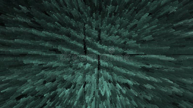 Cosmic explosion. Space turquoise fractal backdrop. Beautiful nebula background. Geometric constellation. Abstract cosmic explosion. Space fractal backdrop stock illustration