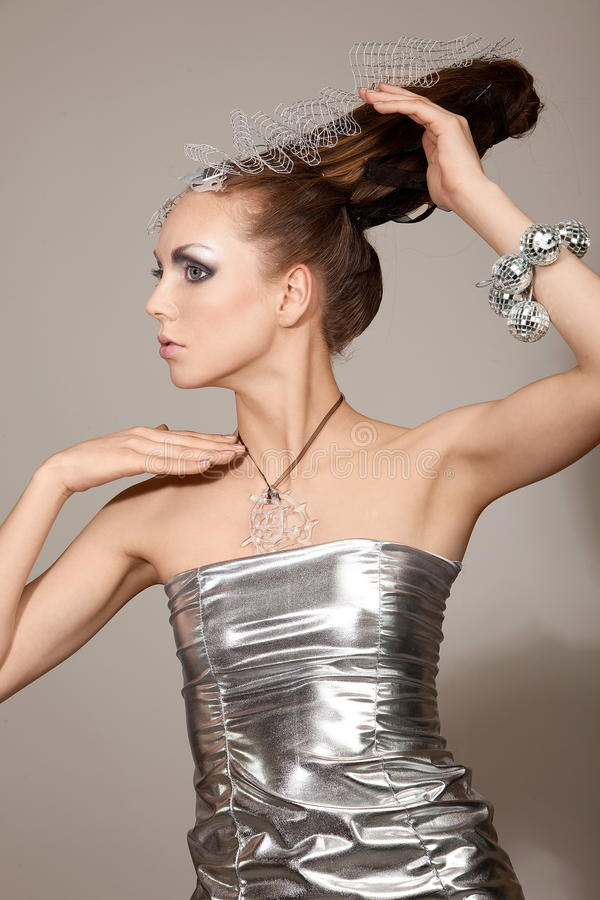 Download Cosmic Fashion Girl In Expression Dress And Hair Stock Photo - Image: 15578924