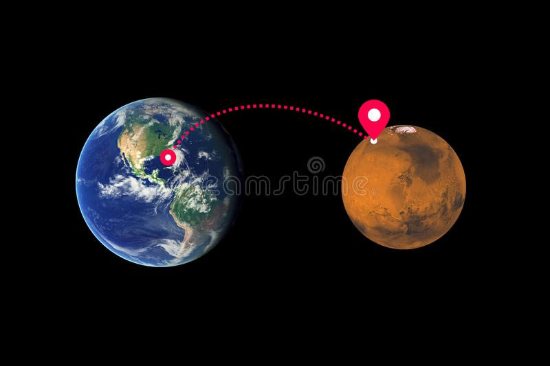 Cosmic flight from Earth to Mars royalty free stock photography