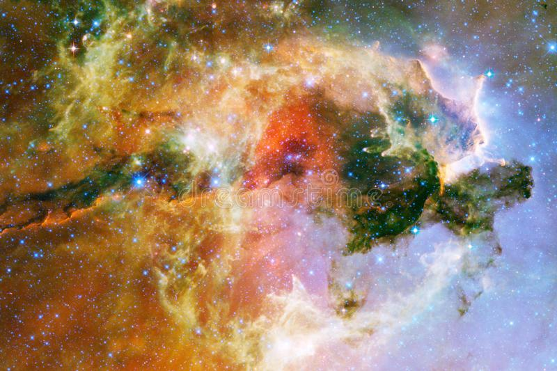 Cosmic galaxy background with nebulae, stardust and bright stars. Elements of this image furnished by NASA.  stock image