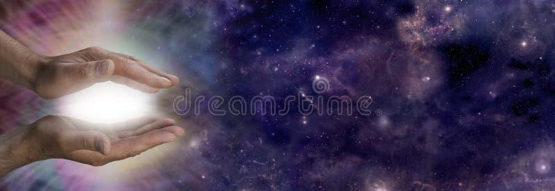 Cosmic healing energy stock image