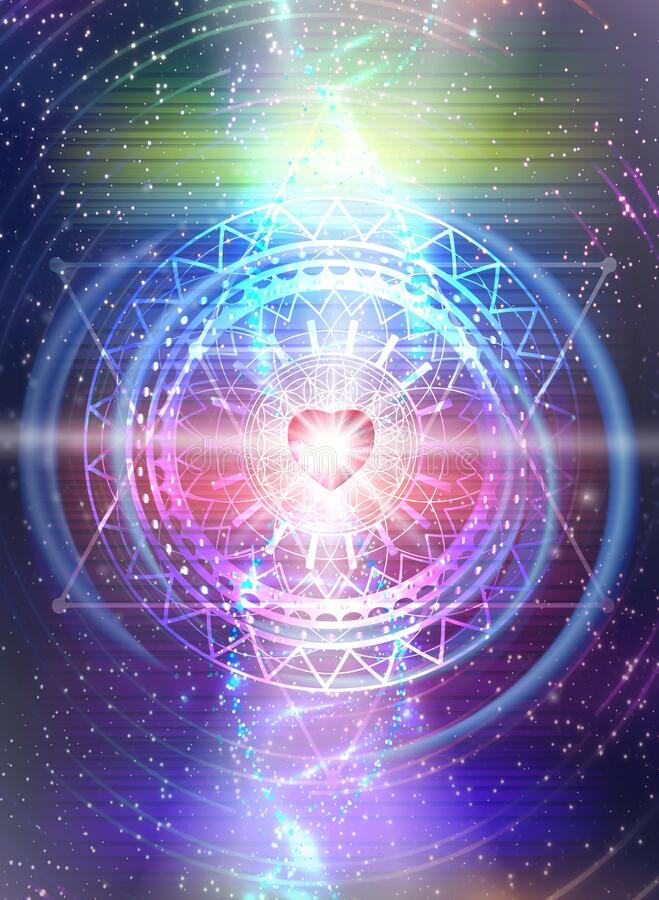 Free Cosmic Heart, DNA Spiral Glowing In Universe Fractals, Merkaba, Portal, Flower Of Life, Diamond Heart Grid Royalty Free Stock Images - 208062659